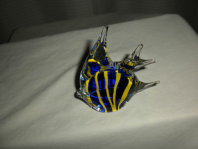 "Cobalt Blue & Yellow BLOWN Glass TROPICAL FISH 3 ½"" Long  Decoration Taiwan"