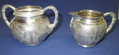 Antique Pairpoint Silver Plate Cream & Sugar Set, Asian, Chinese/Japanese 1890