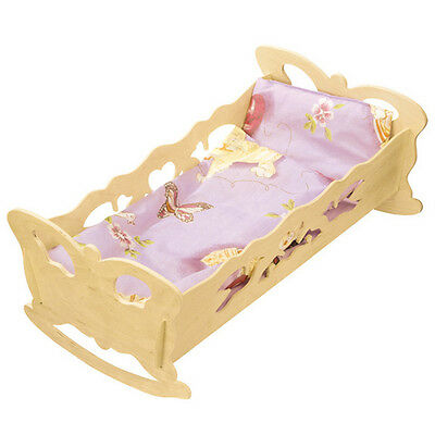 Doll's Cradle 47x28cm Bedding Dolls Bed Wood Puppenwiege Dollhouse Furniture