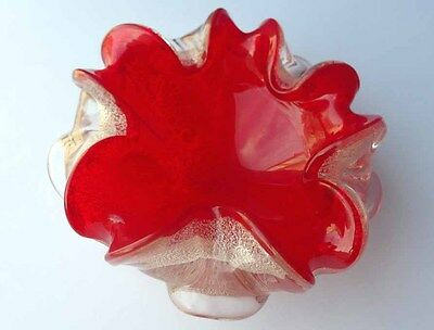 Murano Glass Bowl Flashed Glass Red Silver Foil Barovier & Toso 1950s Jh G185