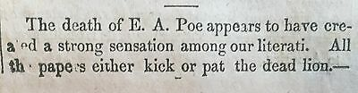 1849 newspaper w CRITCIAL essay on work of POET EDGAR ALLAN POE after his DEATH