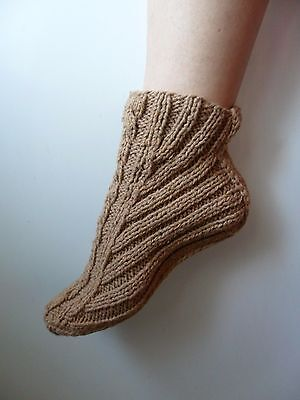 Booties Home Slippers Hand Knit Women's Brown Warm Ukraine New