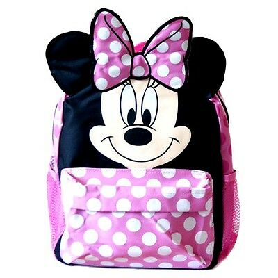 """New Disney Minnie Mouse Girls Pink 12"""" School Backpack-3D Ears"""