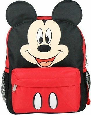 """New Disney Mickey Mouse Red 12"""" School Backpack-3D Ears"""