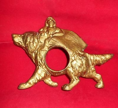 Antique Gilded Cast Iron Newfoundland Dog Landseer New Haven Clock Holder