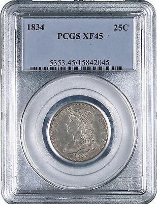 1834 Capped Bust Silver Quarter 25C - PCGS XF45 -