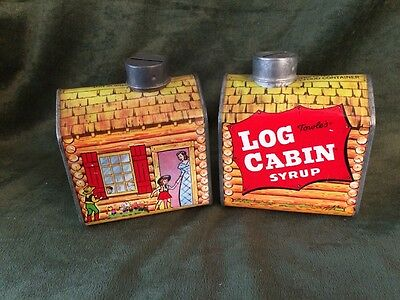 Lot Of 2 Vintage Towle's Log Cabin Syrup Tin Banks With Children Mother Litho