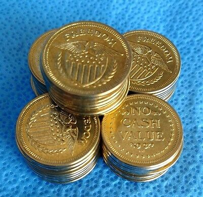 NO CASH VALUE Arcade Tokens Freedom LOT of 50 UNCIRCULATED Game Shield Eagle NEW