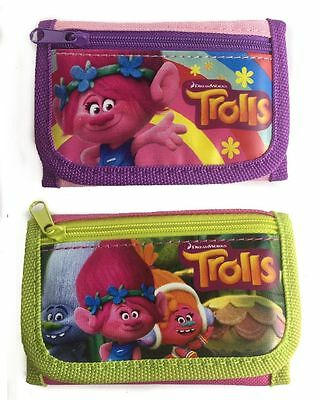 Dreamworks Trolls Poppy & Friends Set of 2 Children Girl's Tri Fold Wallet Favor