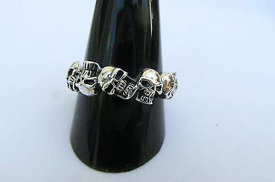 Sterling  Silver  (925)  Staggered   Skulls   Ring   !!       Brand New  !!