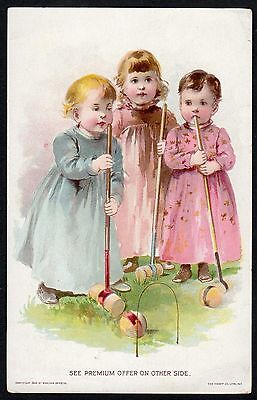 Trade Card Woolson Spice Co LION COFFEE 3 Adorable Children Playing Croquet 1894