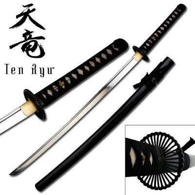 Chrysanthamum Katana Japanese Samurai Sword Clay Tempered 1095 Steel