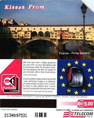 G 1762 264 C&c 3848 Scheda Telefonica Usata Kisses From Firenze T 1 M 12.2004