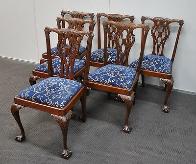 6 Vintage Mahogany Chippendale Style Dining Chairs
