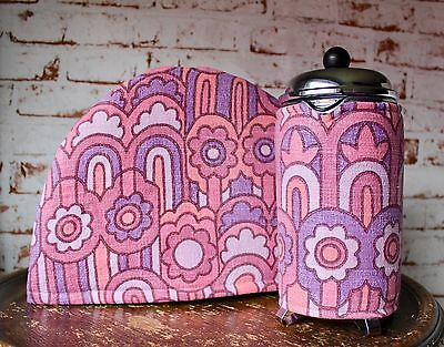 Vintage Fabric Tea & Coffee Cosy~Retro/Pink/60s/Flower/Housewarming/Cafetiere