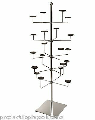 Revolving Free Standing Hat - Cap Display Rack, Holds 20 Hats | Chrome