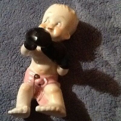 "5"" Vintage Made In Japan Glass  Baby Boy Boxer Figurine"