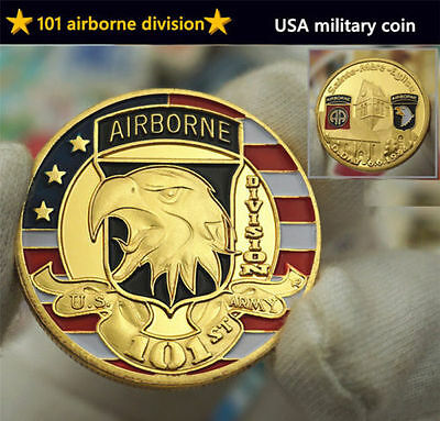 USA 101st Airborne Division Commemorative Coins World War 2 WW2 Eagle Head US