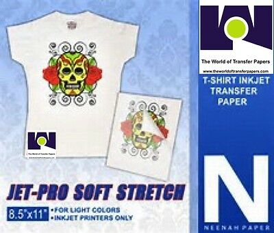 "JET-PRO SS SOFT STRETCH HEAT TRANSFER PAPER 8.5"" X 11"" Light Fabrics 25 Sh Pk #1"