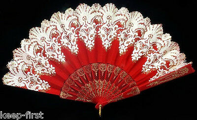 Vintage Red Folding Spanish Flower Floral Lace Dancing Wedding Party Hand Fan