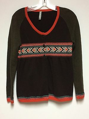 Hanna Andersson Youth Medium Brown Cardigan Sweater Long Sleeve Orange Nordic