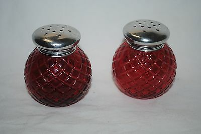 Avon Charisma powder glass shakers, lot of 2, ruby red, empty, nice #S1129