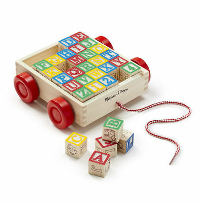 Melissa & Doug Classic Abc Block Pull Along Cart Wooden NEW