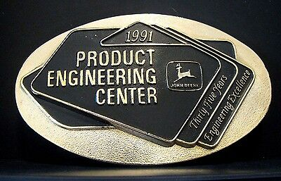 1991 John Deere Product Engineering Center 35th Anniversary Brass Belt Buckle jd