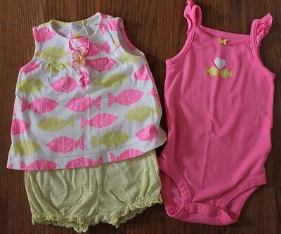 Carter's Baby Girl 3 piece pink yellow tank shorts summer fish outfit 9 months
