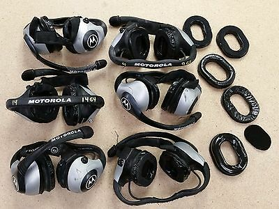 6 WELL USED Motorola 2-Pin Racing Headsets, Partial Kit RMN5015A (P/N 40774G-01)
