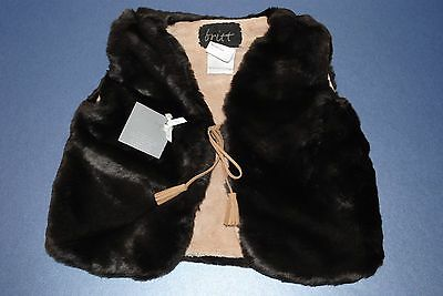 Toddler Unisex Plush Hippy Faux Fur Gillet Vest Jacket Coat BNWT by Britt Sz 2-3