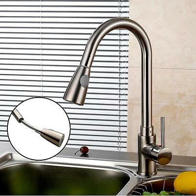 Single Handle Pull Down Kitchenbar Sink Faucet Stainless Steel Sprayer Nickel E