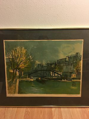 Vintage Roger FORISSIER (1924-2003) signed lithograph Art Print Cityscape.