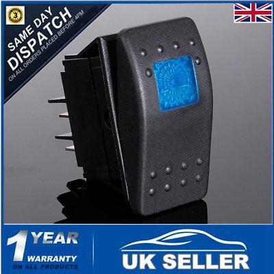 12V 24v LED ILLUMINATED ROCKER SPST ON-OFF SWITCH CAR VAN BOAT MARINE DASH BLUE
