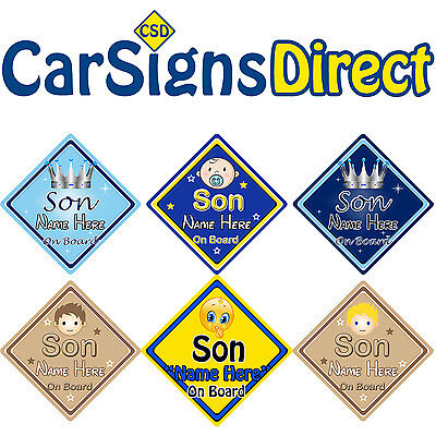 Personalised Son On Board Car Sign - Baby/Child Safety - Choice Of Designs