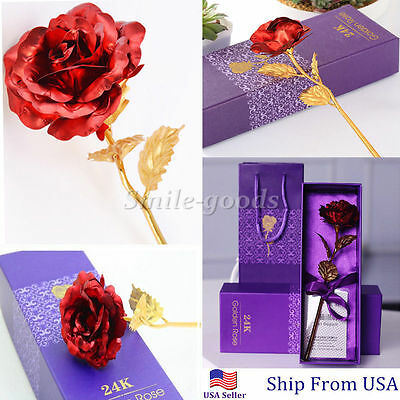 24K Dipped Red Foil Rose Wedding Birthday Best Valentine's Day Lovers Gifts Box