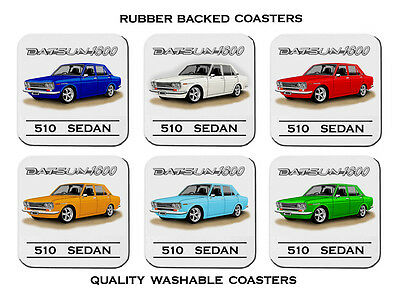 Datsun    1600   Sedan     510       Set Of 6   Quality Rubber Drink  Coasters