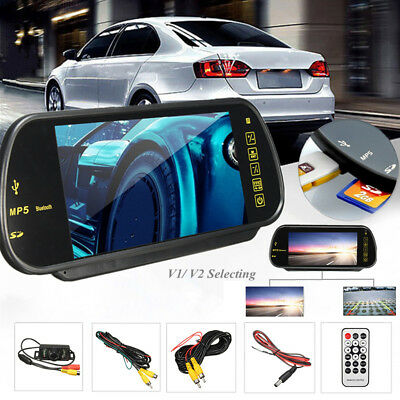 7'' LCD Wireless Bluetooth Car Rear View Mirror Monitor Kit + Reversing Camera