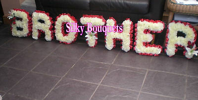Artificial Silk Funeral Flower Brother Wreath 7 Letter Floral Tribute Memorial