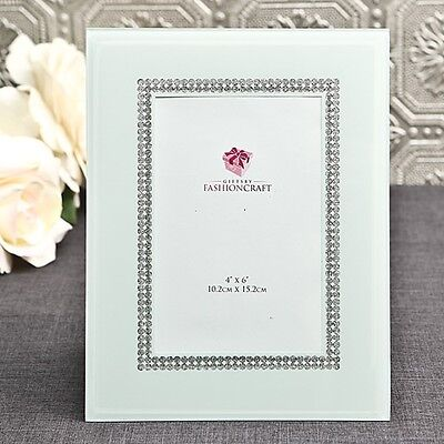 White Glass Frame with Silver - Gift Favors / FC-12054