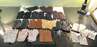 VINTAGE GLOVE LOT of 18 pairs Belgium, Fownes, etc. Leather & Cloth