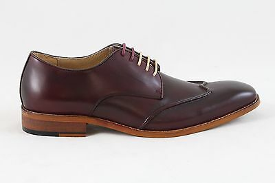 Justin Reece Mens Leather Kevin Casual Formal Shoes Wine Red Size UK 7 9