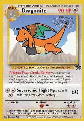 Dragonite 5 (WB) Extremely Rare Pokemon Promo Card Condition Trading Card PLAYED