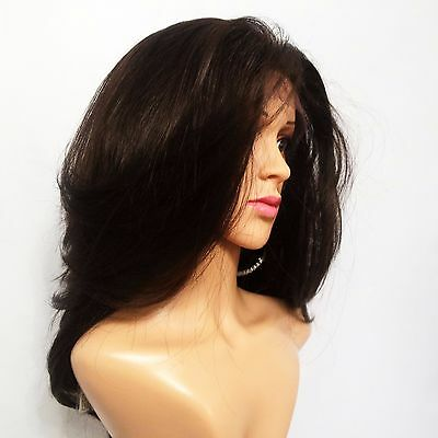 Synthetic Layered Hand Tied Lace Front Dark Brown Wig 16""