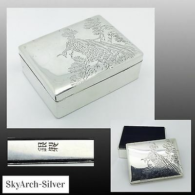 SOLID SILVER Japanese Box & Cover STAMPED Meiji Period 181g C1900