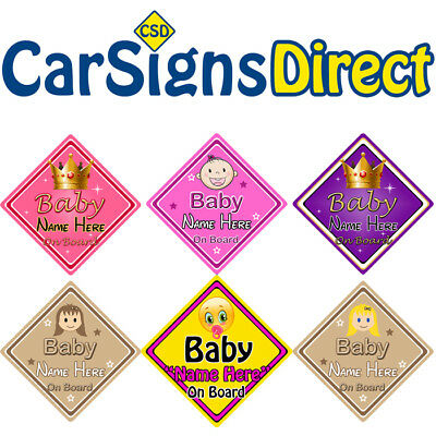 Personalised Baby On Board Car Sign - Girl - Baby/Child Safety-Choice Of Designs