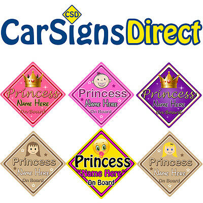 Personalised Princess On Board Car Sign - Baby/Child Safety - Choice Of Designs