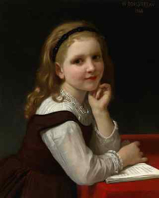The Story Book by William A Bouguereau Art Storybook Child Read 8x10  Print 0936