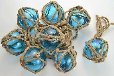 "8 Pcs Reproduction Blue Glass Float Ball With Fishing Net Buoy 3"" #f-455"