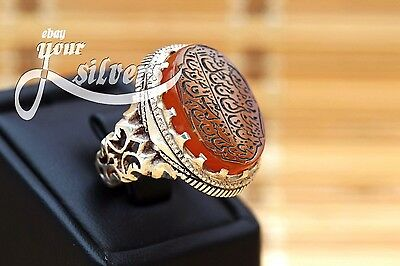 Rare islamic Ring 925 Sterling Silver Authentic Yemeni Aqeeq Real hand engrave